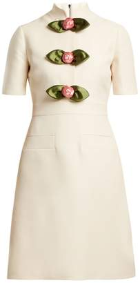 Gucci Rose-embellished high-neck wool-blend dress