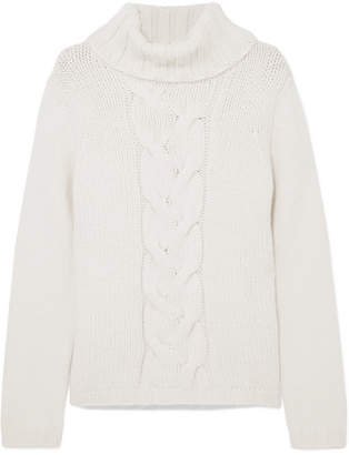 Allude Cable-knit Cashmere Turtleneck Sweater - Cream