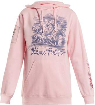 Blue Roses - Suddenly Print Cotton Blend Hooded Sweatshirt - Womens - Pink