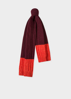 Paul Smith Men's Burgundy Cable-Knit Scarf With Contrasting Ends