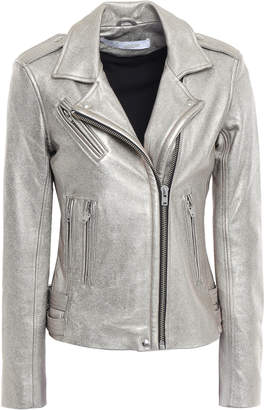 IRO Han Metallic Textured-leather Biker Jacket