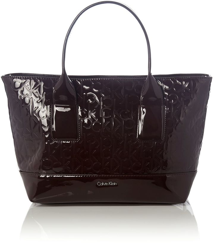 Calvin Klein Maggie burgundy patent emboss tote bag