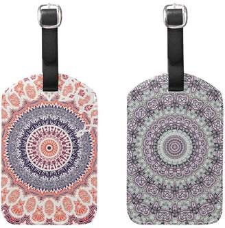 ALAZA Set of 2 Retro Mandala Flower Floral Luggage Tags Travel Suitcase Labels ID Tags