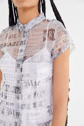 Urban Outfitters Cali Sheer Organza Mini Shirt Dress