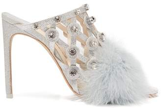 Sophia Webster Iris Crystal Embellished Feather Trimmed Mules - Womens - Silver