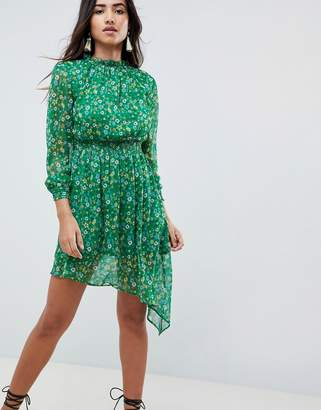 boohoo Floral High Neck Prairie Dress