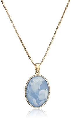 18k Yellow Gold Plated Sterling Silver Genuine Agate Mother and Child Cameo Pendant Necklace