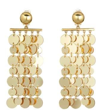 Oscar de la Renta Coin Chandelier Drop Clip On Earrings