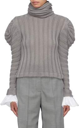 Johanna Ortiz 'Countess of Greystoke' detachable cuff puff shoulder rib knit turtleneck top