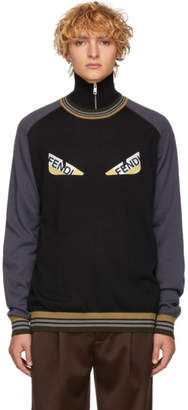 Fendi Black and Grey Striped Bag Bugs Sweater