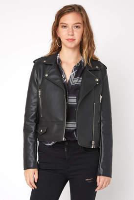 Blank NYC Zip Detail Vegan Leather Moto Jacket