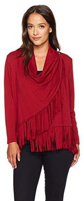 Ruby Rd. Women's Petite Silky French Terry Cardigan with Closure and Fringe Hem