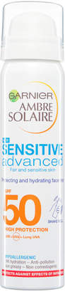 Ambre Solaire Garnier Sensitive Hydrating Face Sun Cream Mist SPF 50 75ml