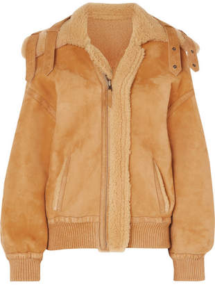 ARJÉ - Reversible Leather-trimmed Suede And Shearling Jacket - Saffron