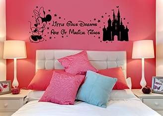 Mural Disney Minnie Mouse Magical Things Castle Children's Vinyl Wall Art Sticker Decal Transfer Stencil (Black)