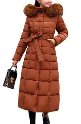 Ueioc Women Winter Thicken Faux Fur Hooded Maxi Long Down Coat US L