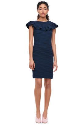 Rebecca Taylor Stretch Tweed Ruffle Dress
