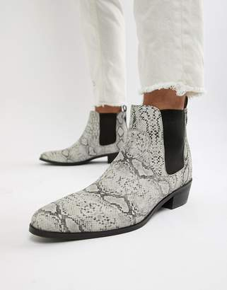 House of Hounds House Of Hounds Onyx cuban boots in white snake print leather