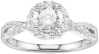 Swarovski Diamonluxe DiamonLuxe Sterling Silver 2 1/3 Carat T.W. Simulated Diamond Halo Ring