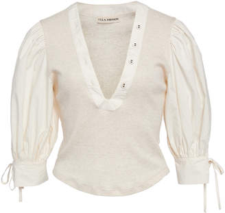 Ulla Johnson Pia Ribbed-Knit Cotton Top Size: M