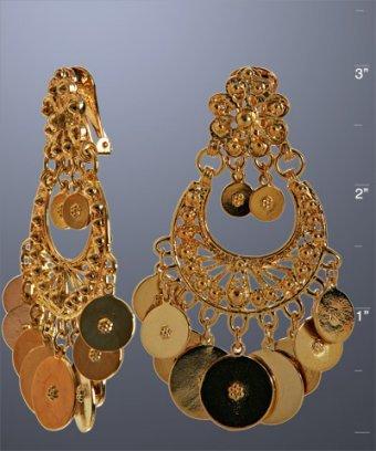 Ben-Amun gold coin chandelier clip-on earrings