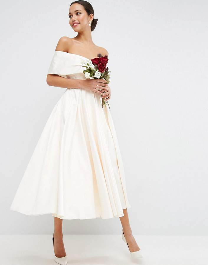 Asos ASOS BRIDAL Off The Shoulder Bonded Sateen Debutante Dress
