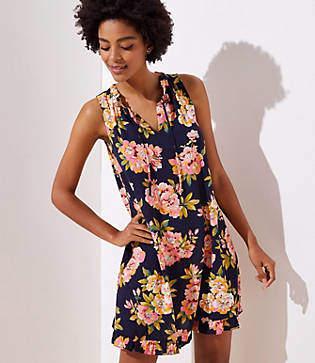 7dafa51698 LOFT Floral Ruffled Tie Neck Swing Dress