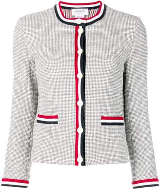 Thom Browne Textured Tweed Crewneck Cardigan