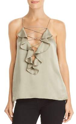 CAMI NYC Vera Ruffled Criss-Cross Detail Silk Top
