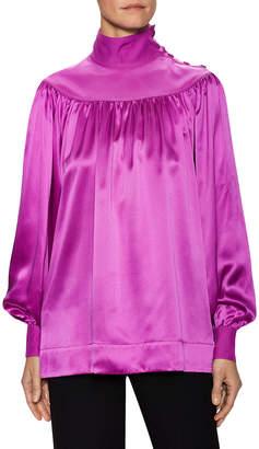 Celine Silk Buttoned Blouson Blouse