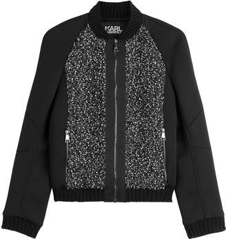 Karl Lagerfeld Bomber Jacket with Textured Panels