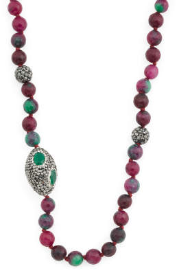 Made In Turkey Sterling Silver Ruby Zoisite Crystal Necklace