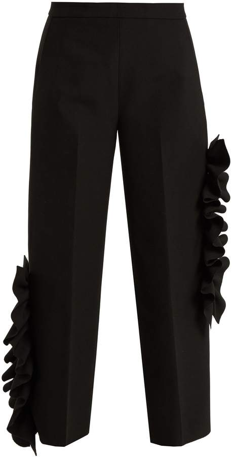 MSGM Ruffled stretch-cady cropped trousers