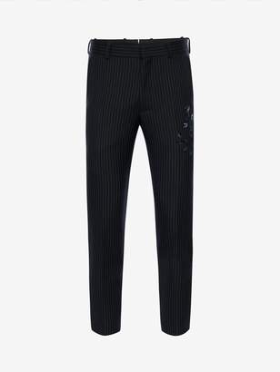 Alexander McQueen Floral Pinstripe Pants