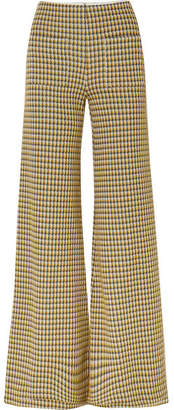 Hellessy Luc Houndstooth Tweed Wide-leg Pants - Yellow