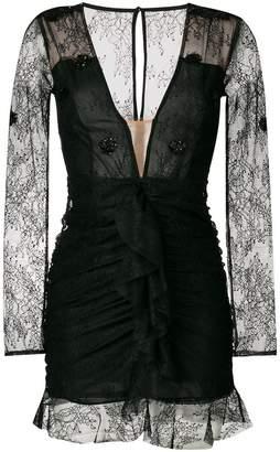 For Love & Lemons fitted v-neck lace dress