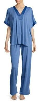 Natori N Satin-Trimmed Jersey Knit Pajamas