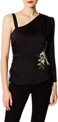 Karen Millen Floral One Shoulder Top, Black