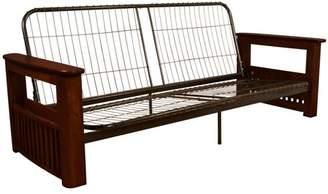 Comfort Style Catalina Storage Arm Style Futon Sofa Sleeper Bed Frame, Full-size, Mahogany Arms