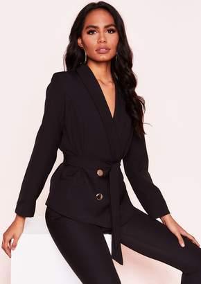 9923d6a567f1 Missy Empire Missyempire Layla Black Button Belted Blazer