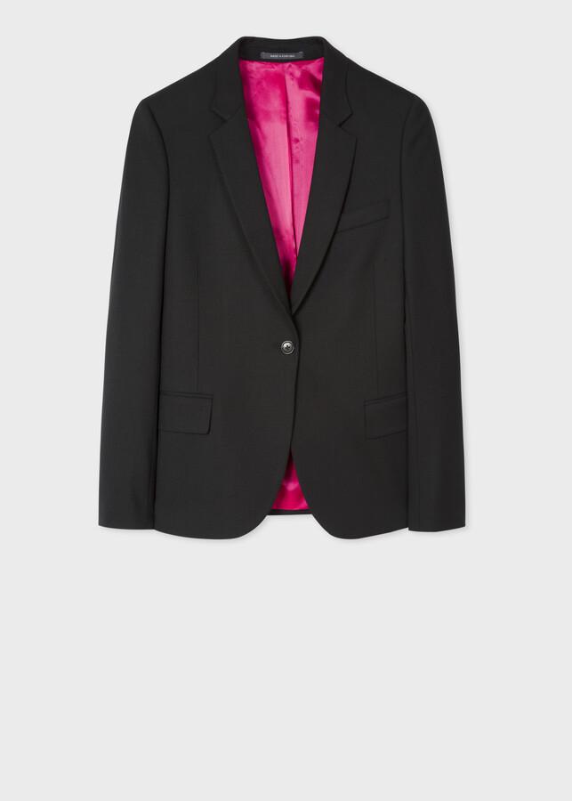 Women's Black Wool-Hopsack Blazer With 'Acapulco' Lining