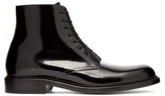 Saint Laurent Army Patent Leather Lace Up Boots - Mens - Black