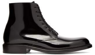 Saint Laurent - Army Patent Leather Lace Up Boots - Mens - Black