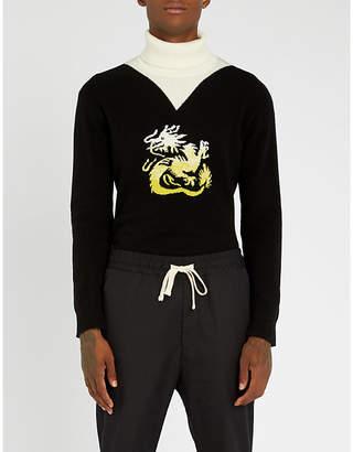 Kenzo Dragon-intarsia wool turtleneck jumper