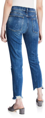 Frame Le High Straight Raw-Edge Distressed Ankle Jeans
