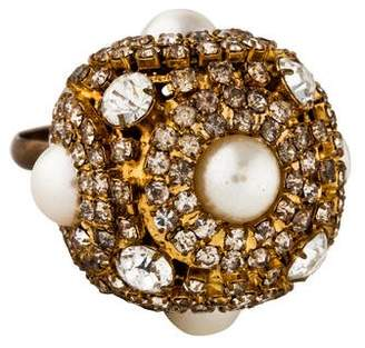 Erickson Beamon Faux Pearl & Crystal Cocktail Ring
