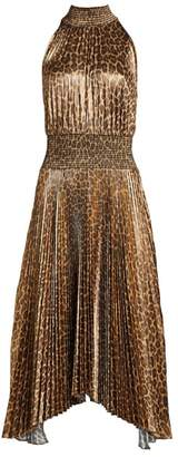 A.L.C. Leopard Renzo Pleated A-Line Handkerchief Dress