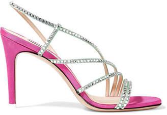ATTICO Baby Crystal-embellished Moire Slingback Sandals - Pink