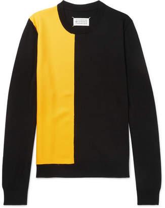 Maison Margiela Twill-Panelled Wool Sweater