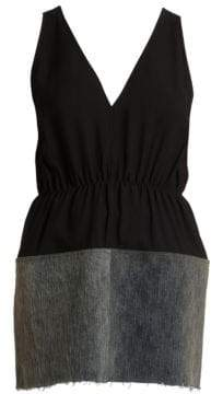 Rick Owens Babel Bordered V-Neck Tank Top